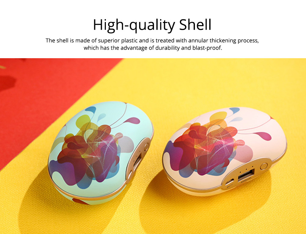 Large Capacity Colorful Vibration Massage Power Bank, USB Rechargeable Flower Pattern Blast-Proof Hand Warmer 3