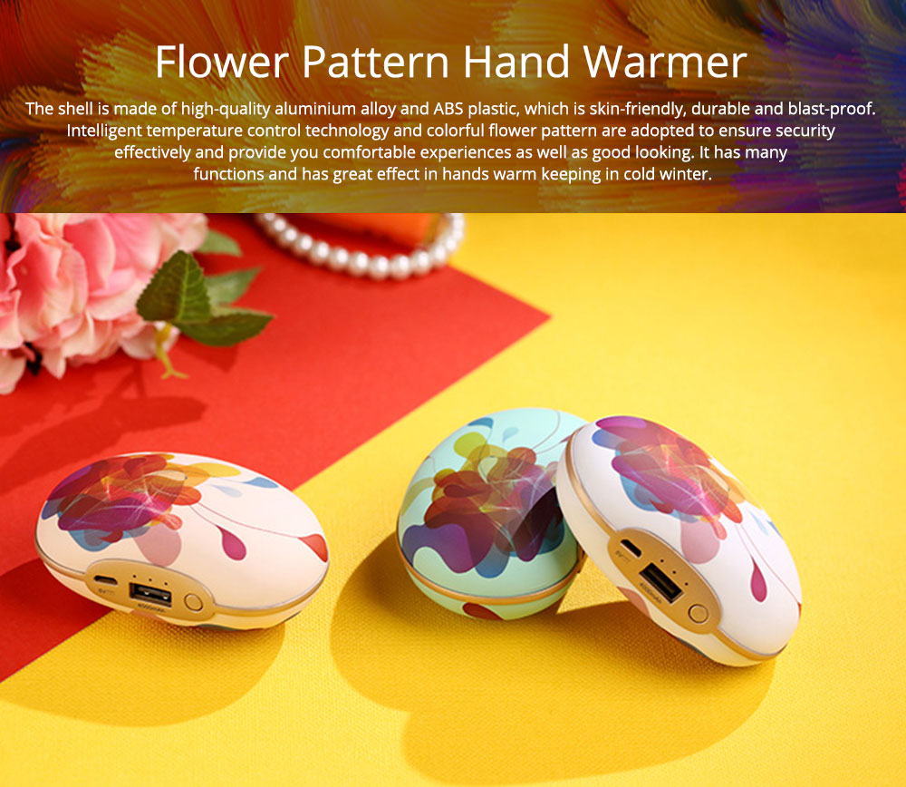 Large Capacity Colorful Vibration Massage Power Bank, USB Rechargeable Flower Pattern Blast-Proof Hand Warmer 0