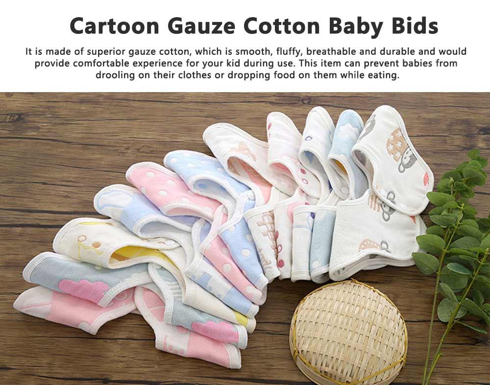Cartoon Gauze Cotton Baby Bibs, Newborn Baby Infant Toddler Cartoon Towel, U Type Dribble Feeding Birds 0