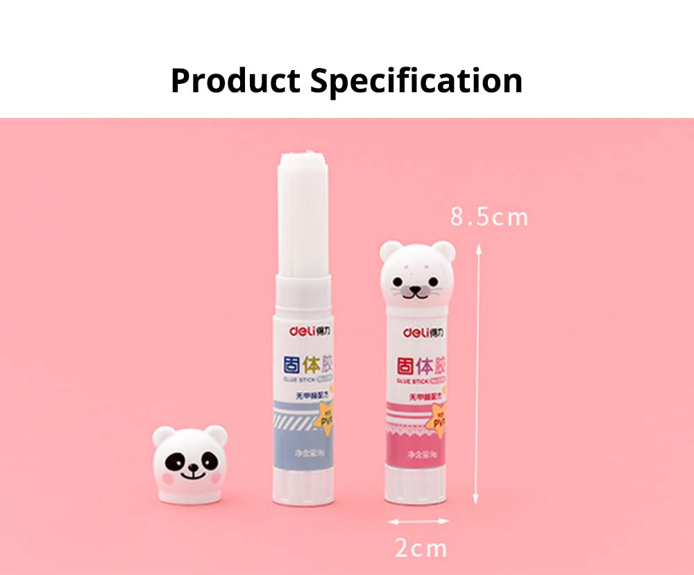 Cute Cartoon PVP Solid Glue Stick, Strong Paper Adhesive School & Office Supplies, 9g 9