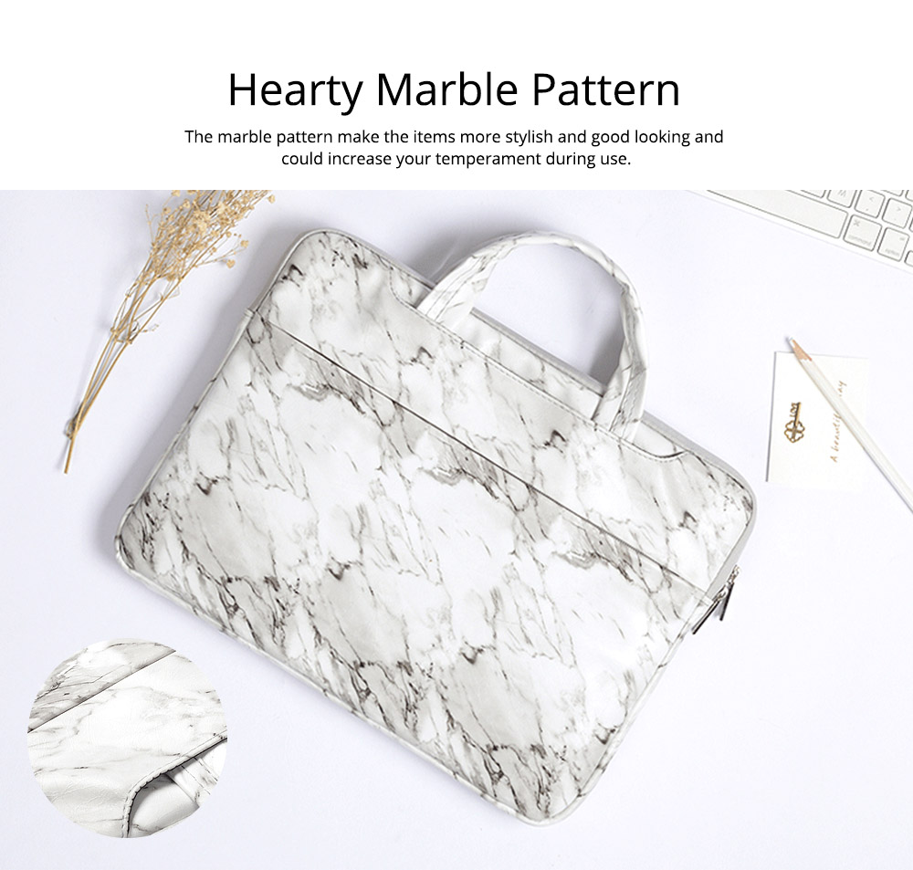 Marble Pattern Stylish Laptop Notebook Handle Bag, Waterproof Protective Felt Laptop Sleeve Bag with Belt Pouch 4