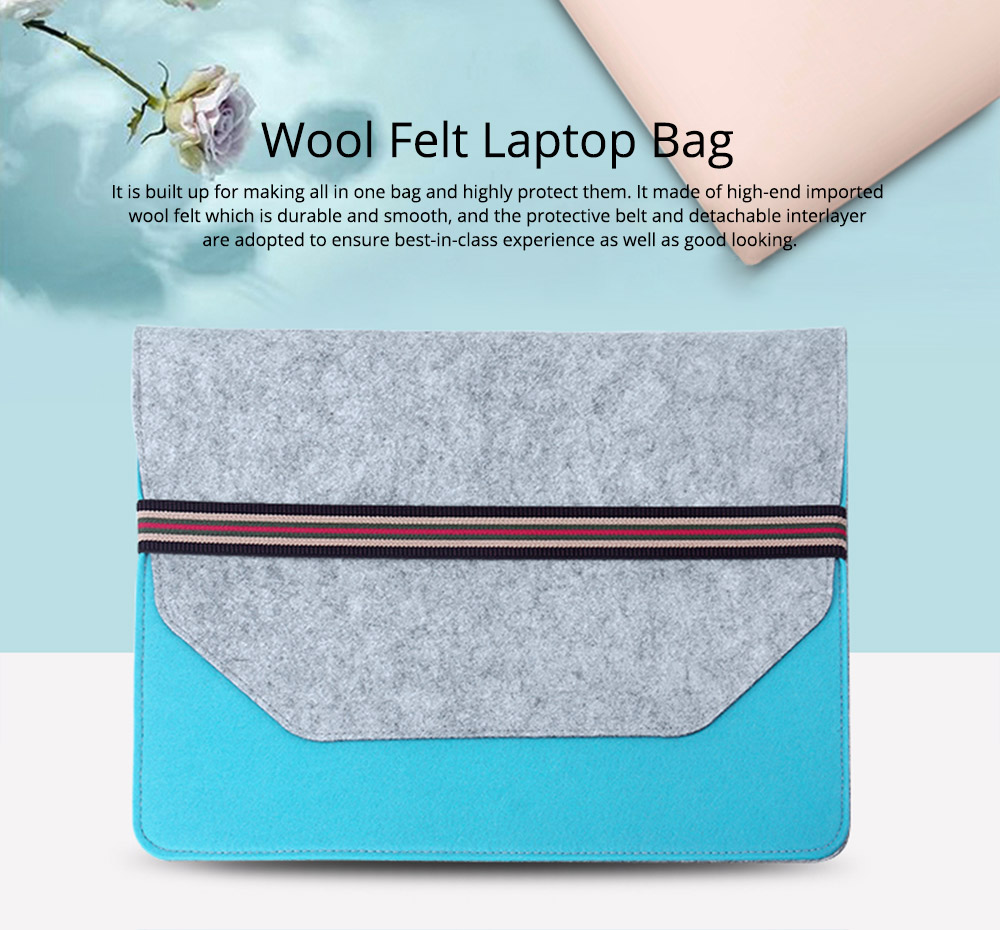 Soft Smooth Imported Wool Felt Tablet Laptop Protective Sleeve, Stylish Laptop Notebook Bag with Protective Belt 0