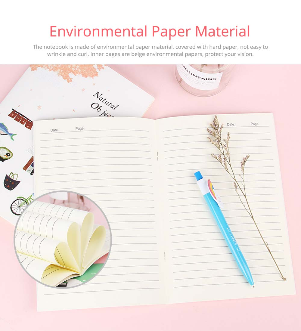 Fresh Style Thin Notebook, 60 Pages Journal Environmental Paper Cover Cartoon Floral Student Diary Jotter, 4PCS 4
