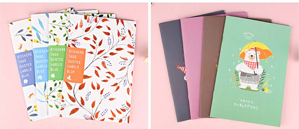 Fresh Style Thin Notebook, 60 Pages Journal Environmental Paper Cover Cartoon Floral Student Diary Jotter, 4PCS 3