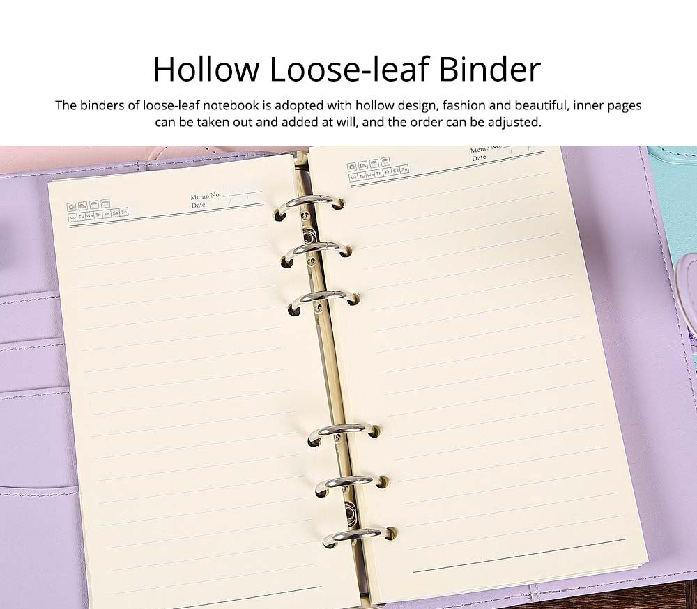 Multifunctional Loose-leaf Magnetic Buckle Notebook, A5/A6 Diary Jotter with Built-in Card Bag 2