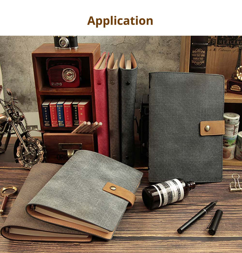 Loose-leaf Magnetic Buckle Notebook, Uncoated Woodfree Paper Binder, Modern Canvas Texture Leather, 160 Pages 6