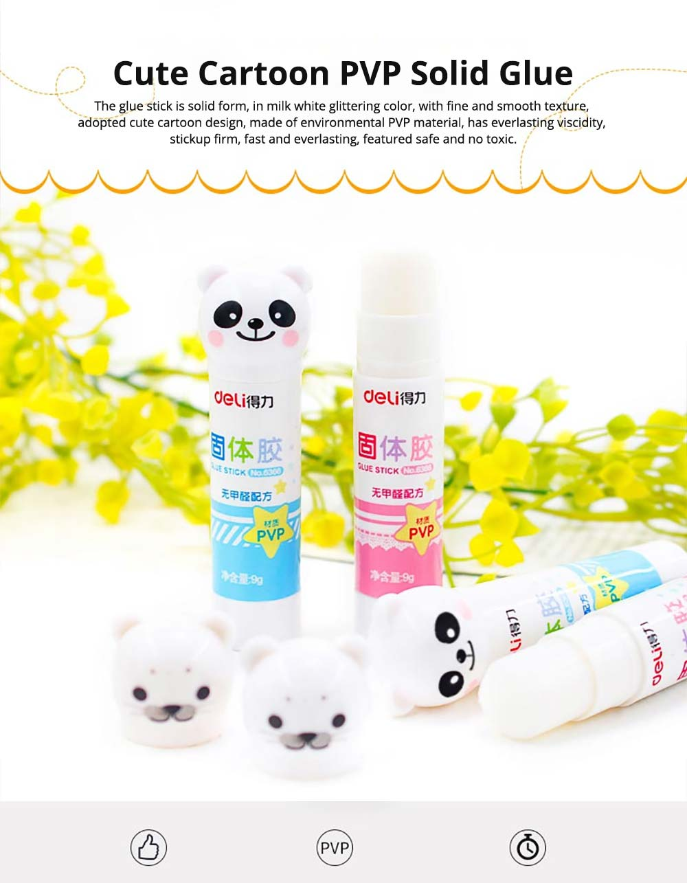 Cute Cartoon PVP Solid Glue Stick, Strong Paper Adhesive School & Office Supplies, 9g 0