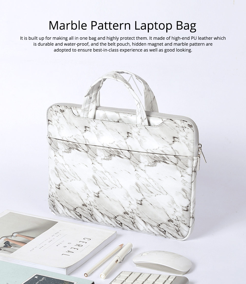 Marble Pattern Stylish Laptop Notebook Handle Bag, Waterproof Protective Felt Laptop Sleeve Bag with Belt Pouch 0