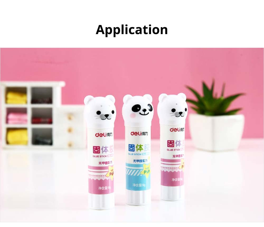 Cute Cartoon PVP Solid Glue Stick, Strong Paper Adhesive School & Office Supplies, 9g 7