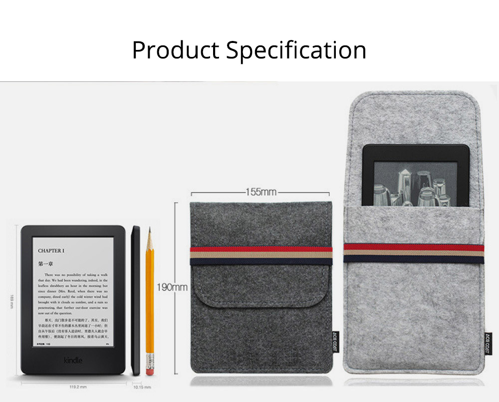 Stylish Tablet Laptop Protective Sleeve for Kindle, Soft Smooth Wool Felt Laptop Notebook Bag with Protective Belt 5