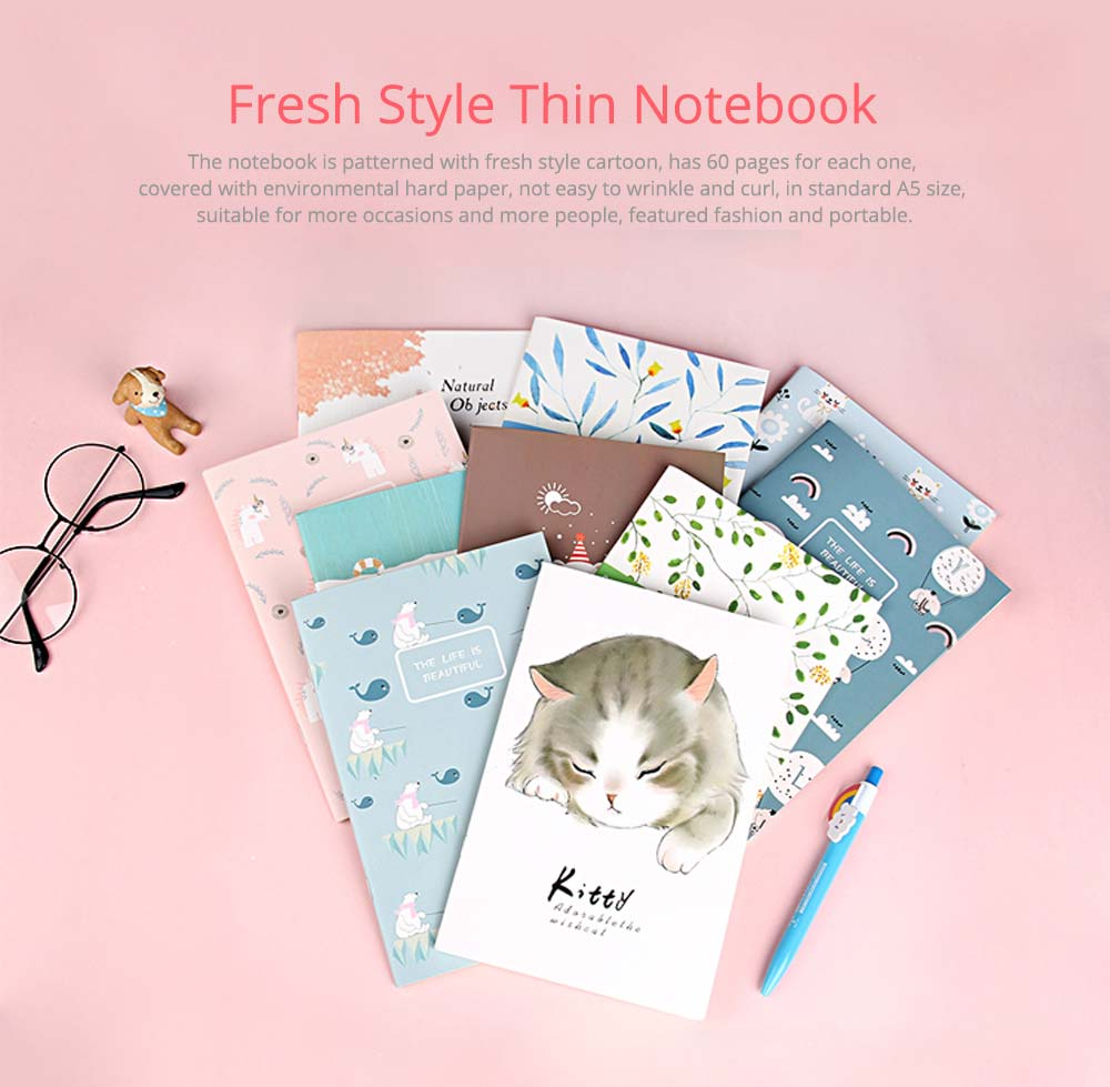 Fresh Style Thin Notebook, 60 Pages Journal Environmental Paper Cover Cartoon Floral Student Diary Jotter, 4PCS 0