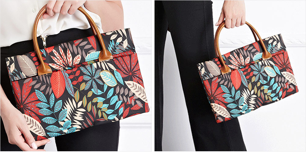 Water-proof Canvas Floral Pattern Laptop Ultrabook Sleeve Chase Bag Cover, Pouch Laptop Bag for Different Size of Computers 18
