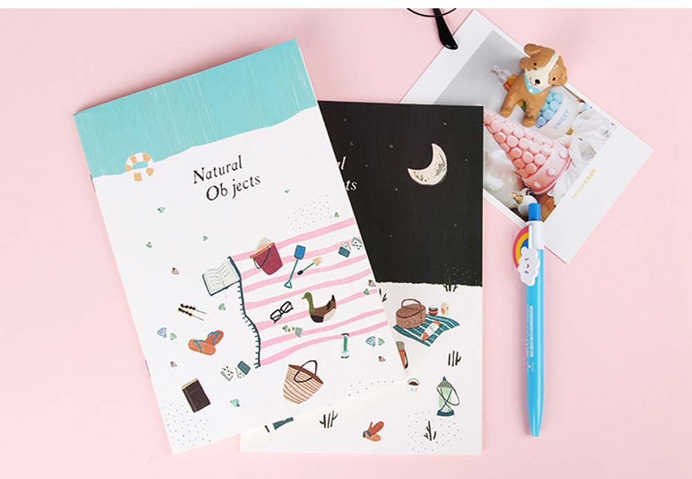 Fresh Style Thin Notebook, 60 Pages Journal Environmental Paper Cover Cartoon Floral Student Diary Jotter, 4PCS 8