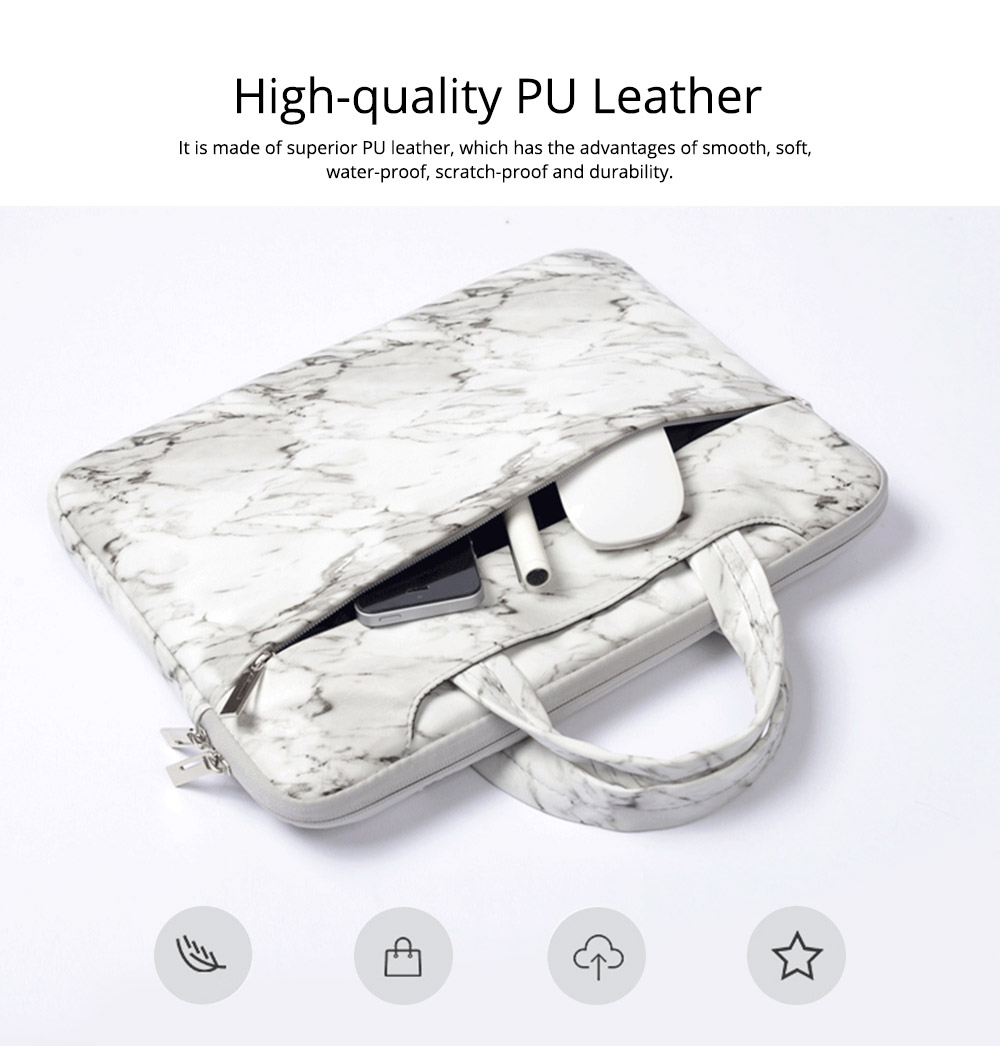 Marble Pattern Stylish Laptop Notebook Handle Bag, Waterproof Protective Felt Laptop Sleeve Bag with Belt Pouch 10