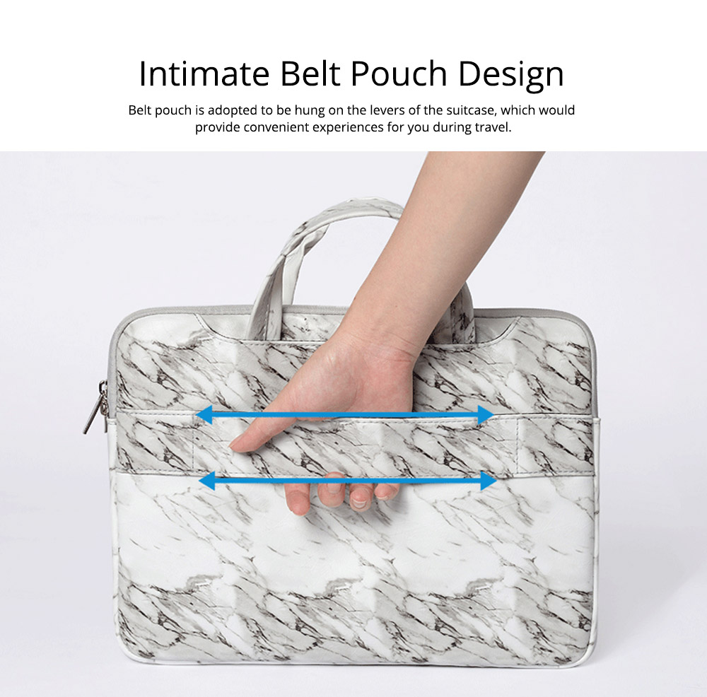 Marble Pattern Stylish Laptop Notebook Handle Bag, Waterproof Protective Felt Laptop Sleeve Bag with Belt Pouch 14