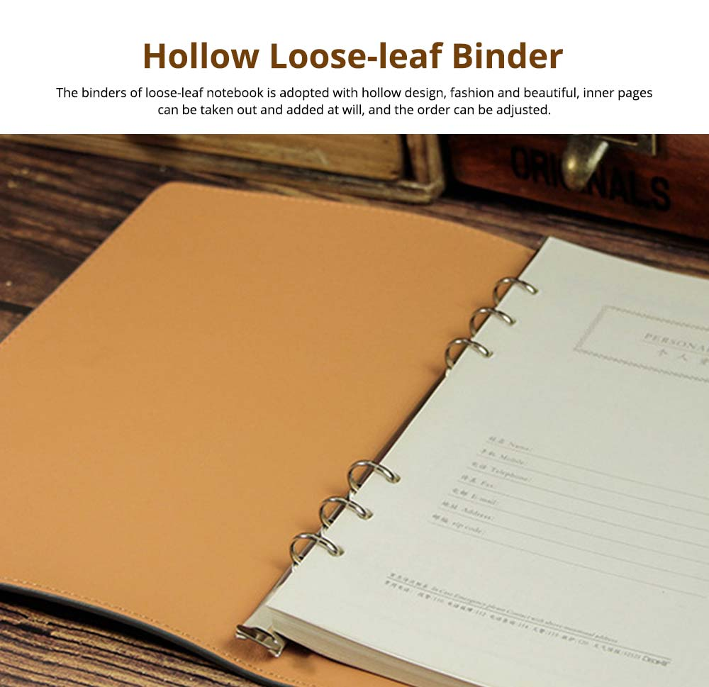 Loose-leaf Magnetic Buckle Notebook, Uncoated Woodfree Paper Binder, Modern Canvas Texture Leather, 160 Pages 5