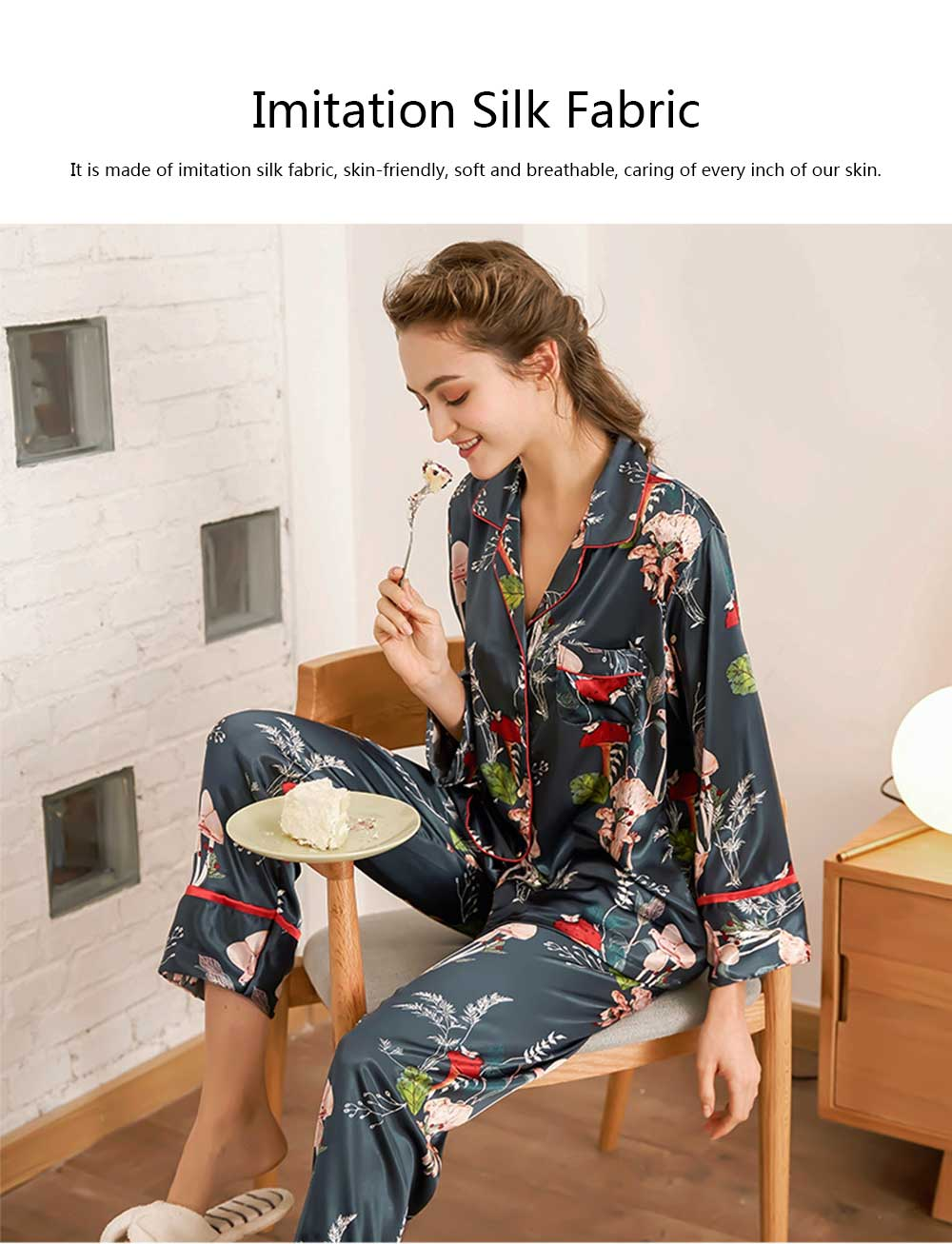 Imitation Silk Fabric Long-sleeved Tracksuit, Botanical Floral Pattern Printed Pajamas, Two-piece Suit 1