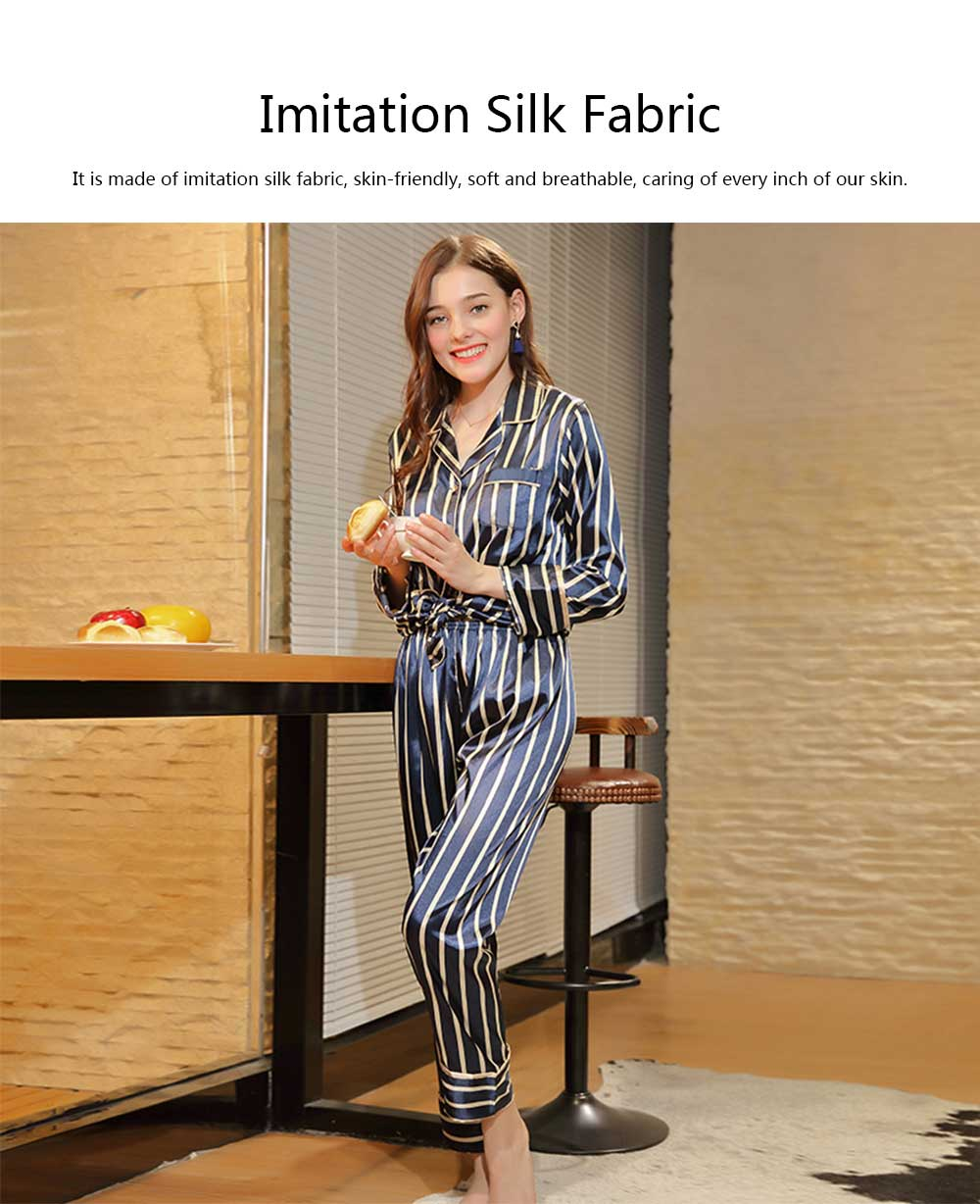 Women's Thin Cardigan Pajamas Set, Long-sleeved Trousers Silk Striped Tracksuit, Two-piece, Spring and Autumn 7