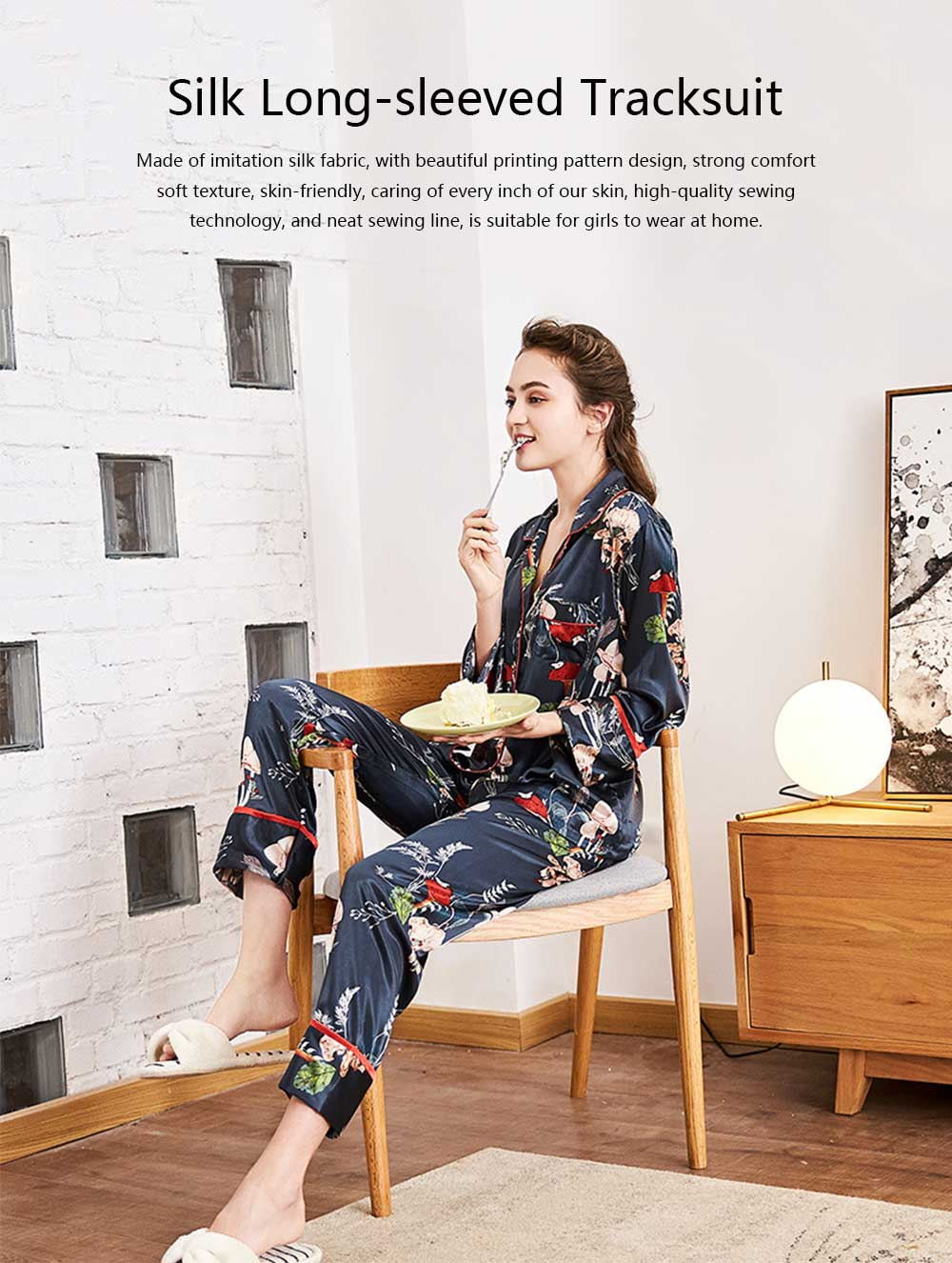 Imitation Silk Fabric Long-sleeved Tracksuit, Botanical Floral Pattern Printed Pajamas, Two-piece Suit 0