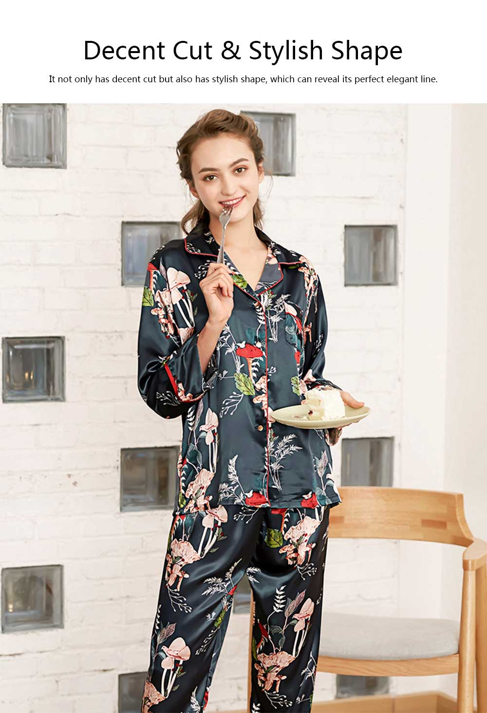 Imitation Silk Fabric Long-sleeved Tracksuit, Botanical Floral Pattern Printed Pajamas, Two-piece Suit 3
