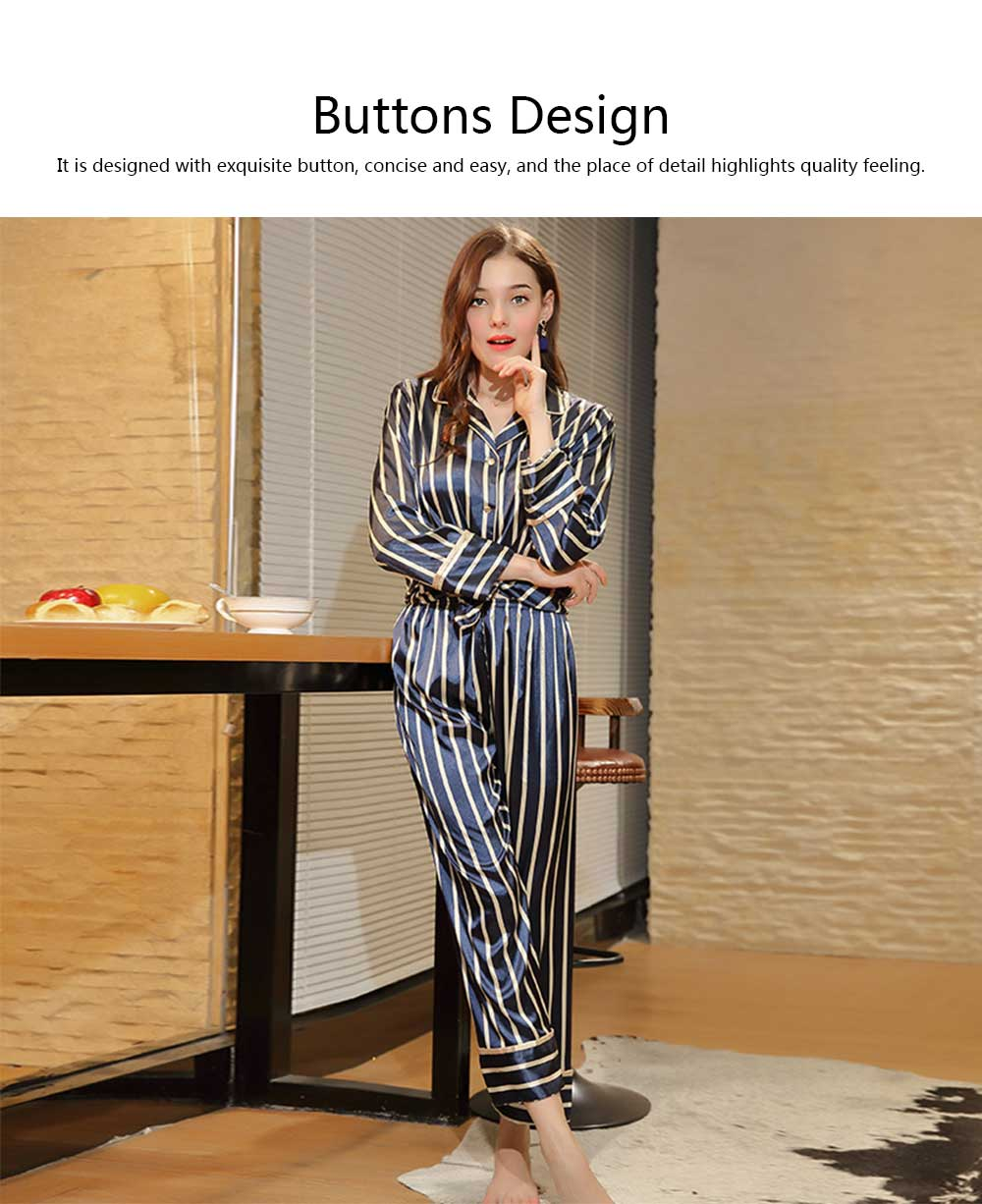 Women's Thin Cardigan Pajamas Set, Long-sleeved Trousers Silk Striped Tracksuit, Two-piece, Spring and Autumn 10