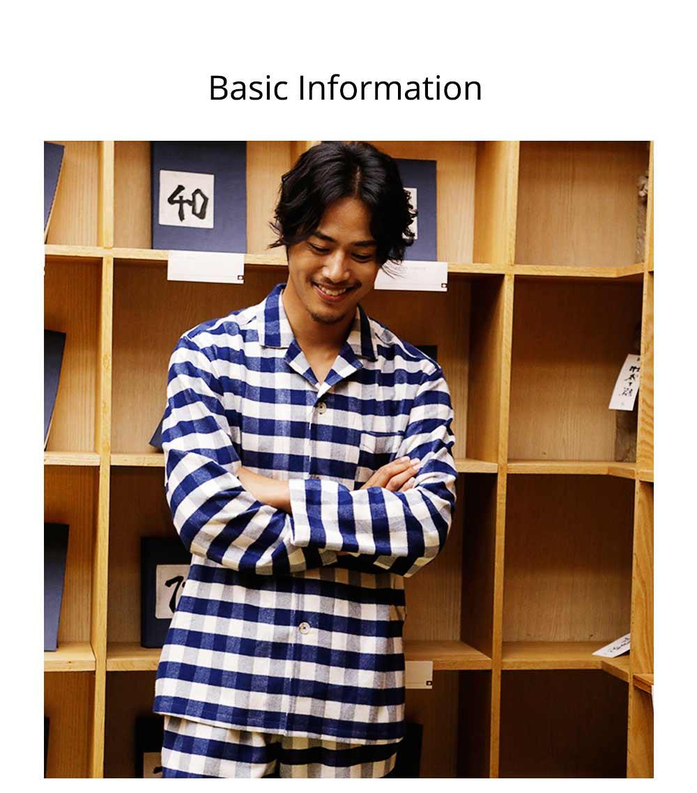Stripe Nightgown Comfortable Pajamas Set for Men Long Sleeves Cotton Sleepwear Autumn Winter 8