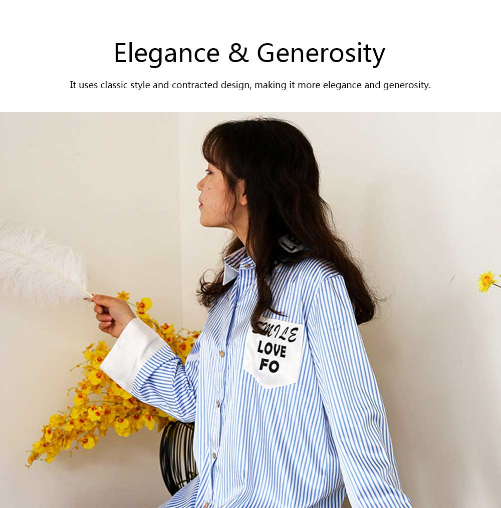 Girls Shirt-style Cardigan Pajamas, Long-Sleeved Imitation Silk Fabric Striped Tracksuit 5