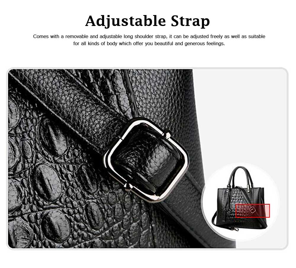 Leather Crocodile Pattern Fashion Handbag with Firm Hooks, Scratchproof Waterproof Messenger Bag for Middle-aged Mother 3