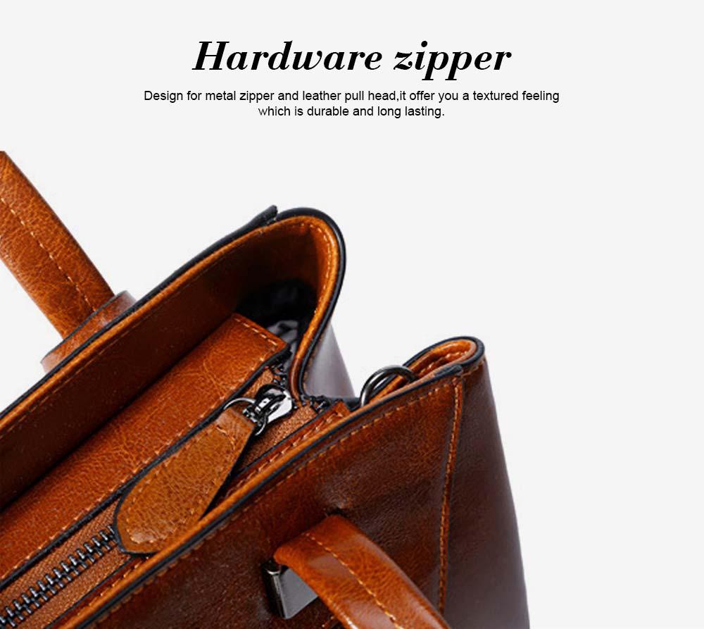 Oil Wax PU Leather Handbags With Detachable Shoulder Strap, Fashion Ladies Portable Slung Shoulder Bag 4