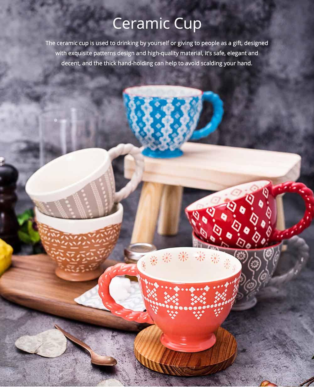 Ceramic Cup Breakfast Round Big Opening Mugs for Home Tea Milk Glazed white Porcelain Mug 0