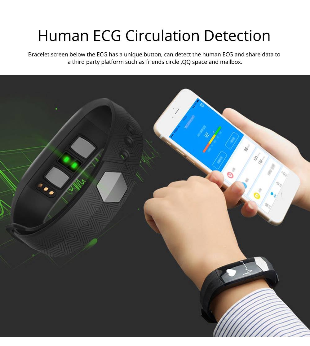 Blood Pressure and Heart Rate Bracelet, Electrocardiogram Smart Bracelet with Multiple Languages for PPG+ECG Electrode type 2