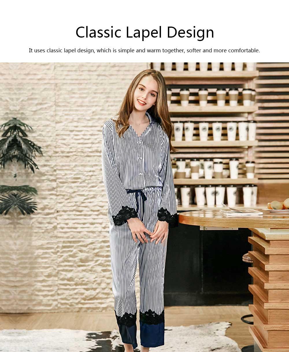 Soft Breathable Striped Stitching Pajamas, Female Imitation Silk Fabric Tracksuit set, Spring Autumn, 2019 3