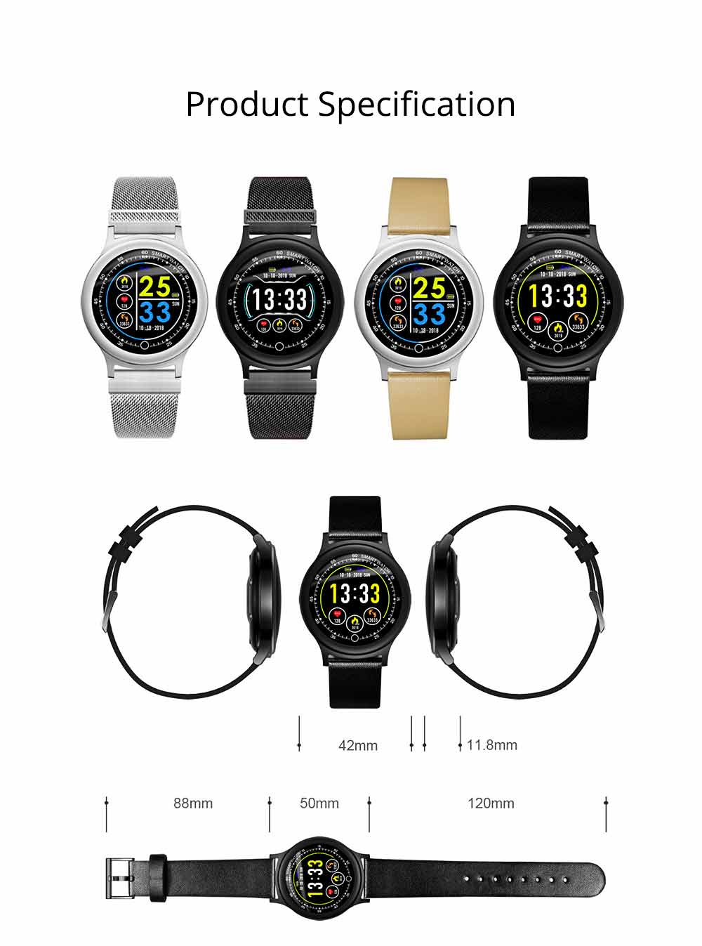 Smart Bracelet with Circle Color Screen for Heart Rate and Sleep Monitoring, Waterproof Business Bracelet 12