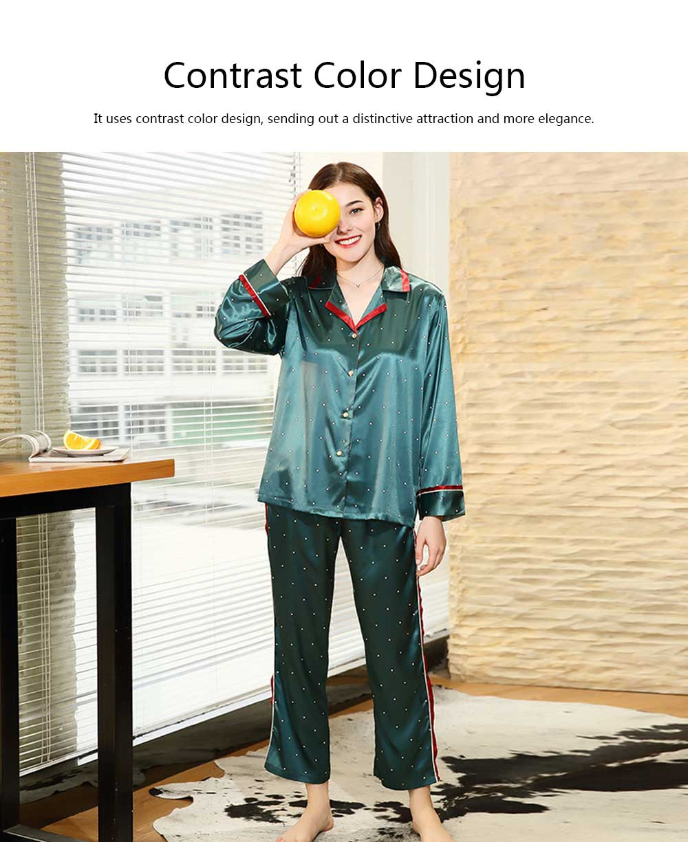 Breathable Soft Imitation Silk Fabric Pajamas, Women's Long-sleeve Trousers Printed Tracksuit 2019 4