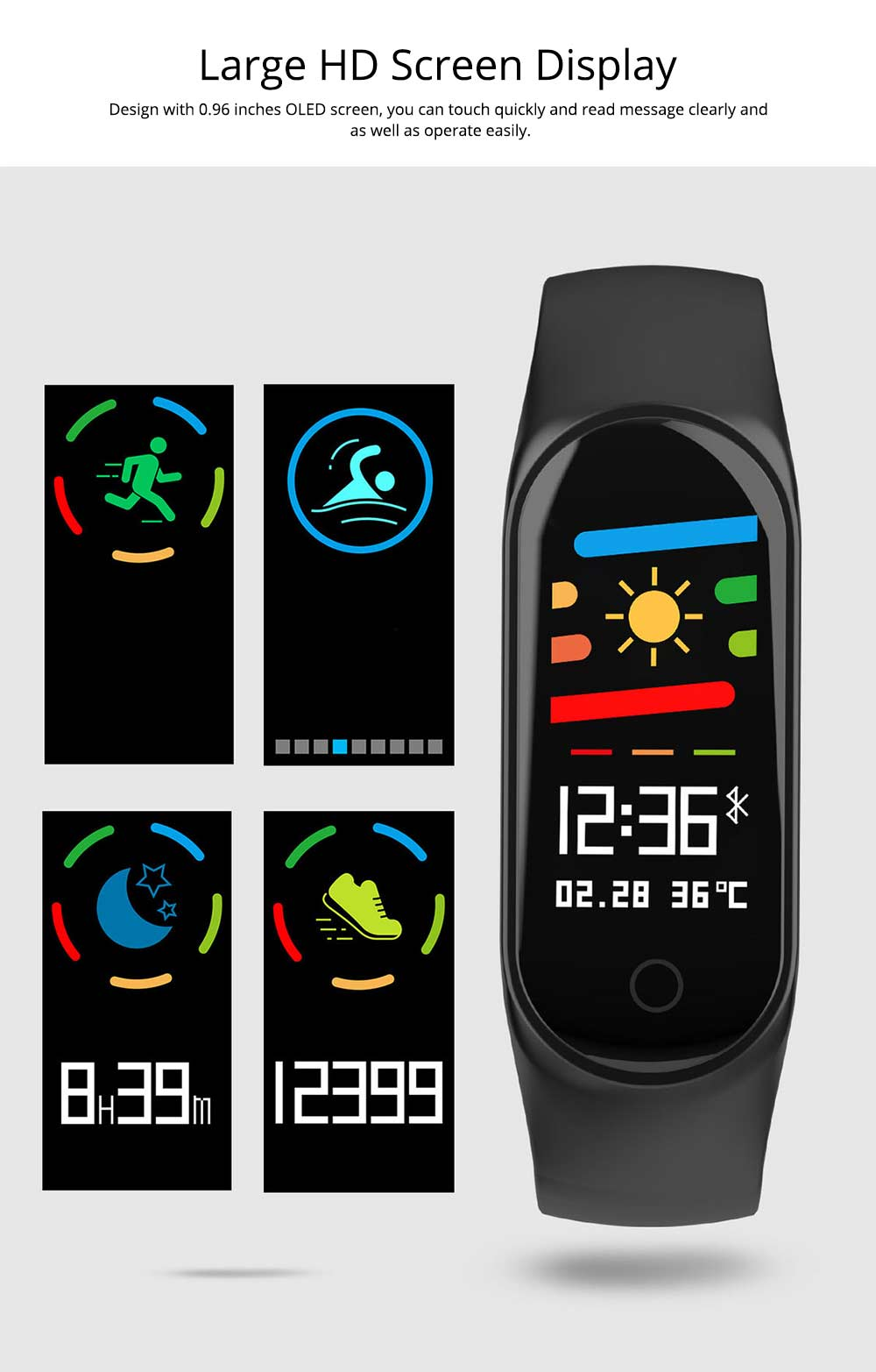 Waterproof Color Screen Smart Bracelet with Multiple-sports Modes for Heart Rate & Oxygen Monitoring 7