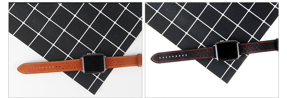 Genuine Leather Apple Watchband Strap with Stainless Steel Watch Buckle, 220mm 1