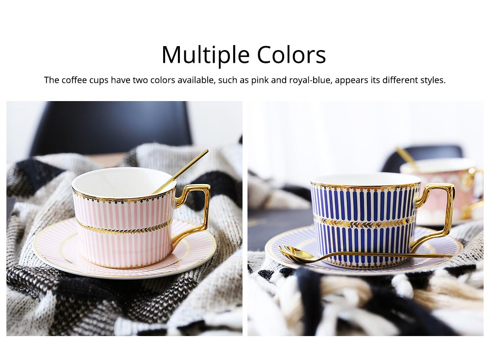 Ceramics Cups Sets - Tea Cup with Saucers Spoon, Exquisite Painting Porcelain Coffee Cups 13