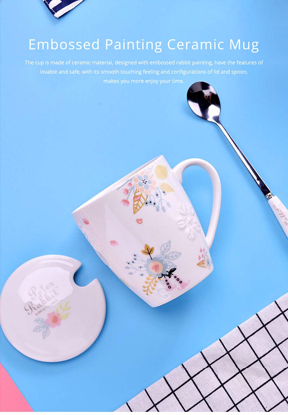 Ceramic Mug Embossed Painting with Cover Spoon for Office Water Coffee Porcelain Cup 0