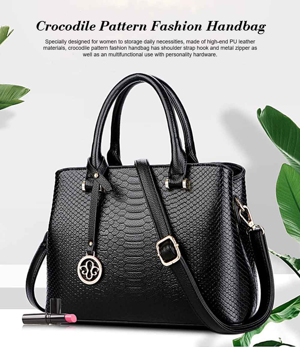 Leather Crocodile Pattern Fashion Handbag With Firm Hooks, Scratchproof Waterproof Messenger Bag for Middle-aged Mother 0
