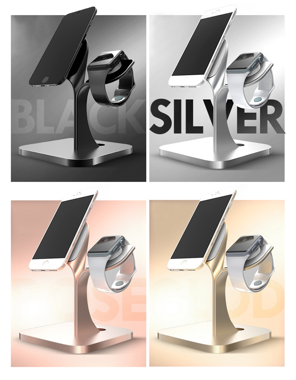 Mobile Phone Stand iwatch Charging Base, Aluminum Alloy Mobile Phone Display Stand Base Universal 3