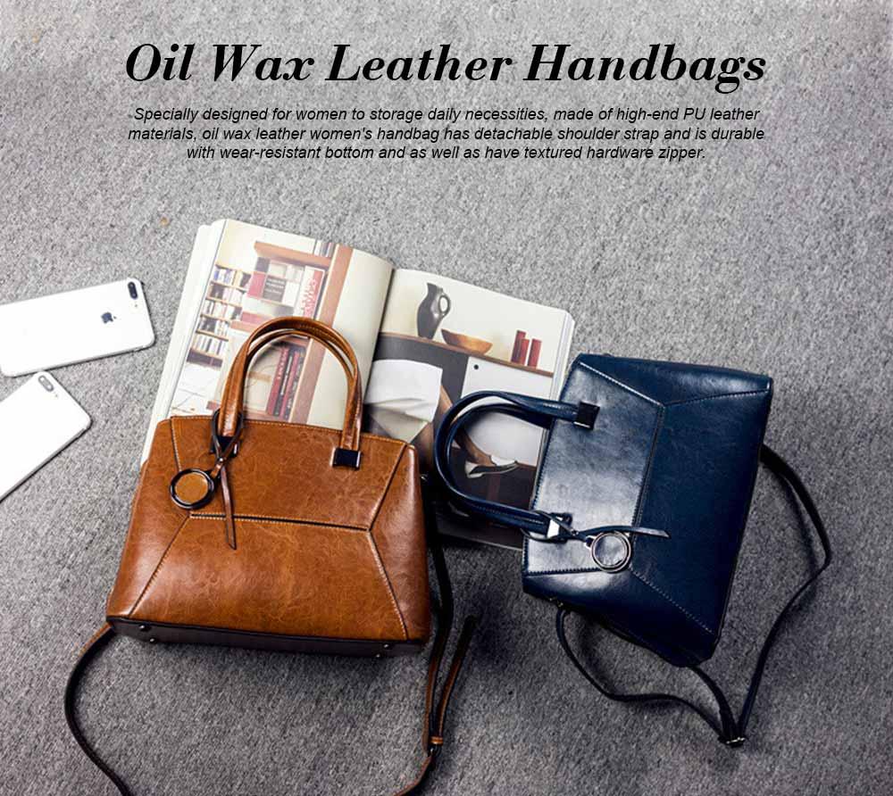 Oil Wax PU Leather Handbags With Detachable Shoulder Strap, Fashion Ladies Portable Slung Shoulder Bag 0