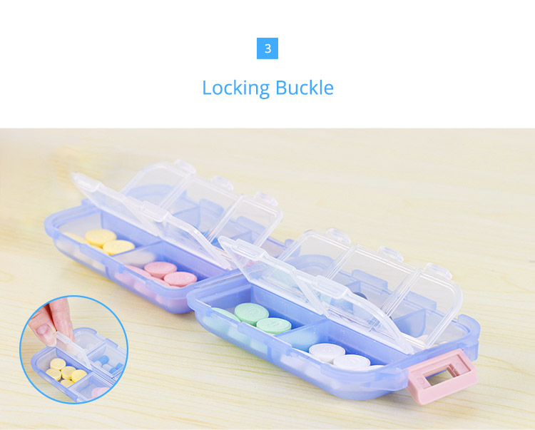 Bidear Travel Pill Case Portable Weekly Tablet Medicine Vitamin Pill Box for Purse or Pocket, 10 Compartments 4