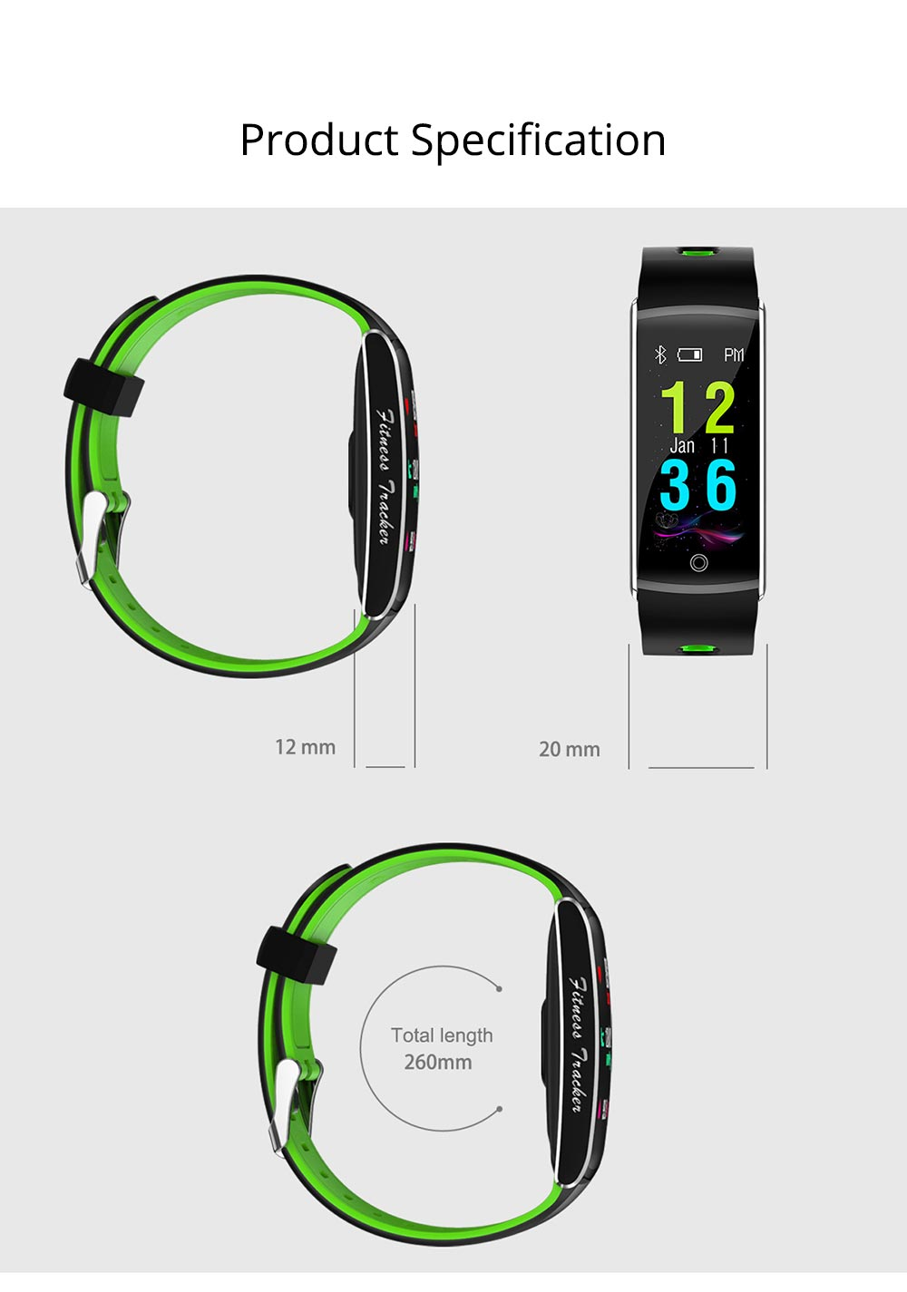 Waterproof Sports Bluetooth Smart Bracelet with Silicone Ultra-soft Watchband for Call Reminder and Rate Monitoring 10