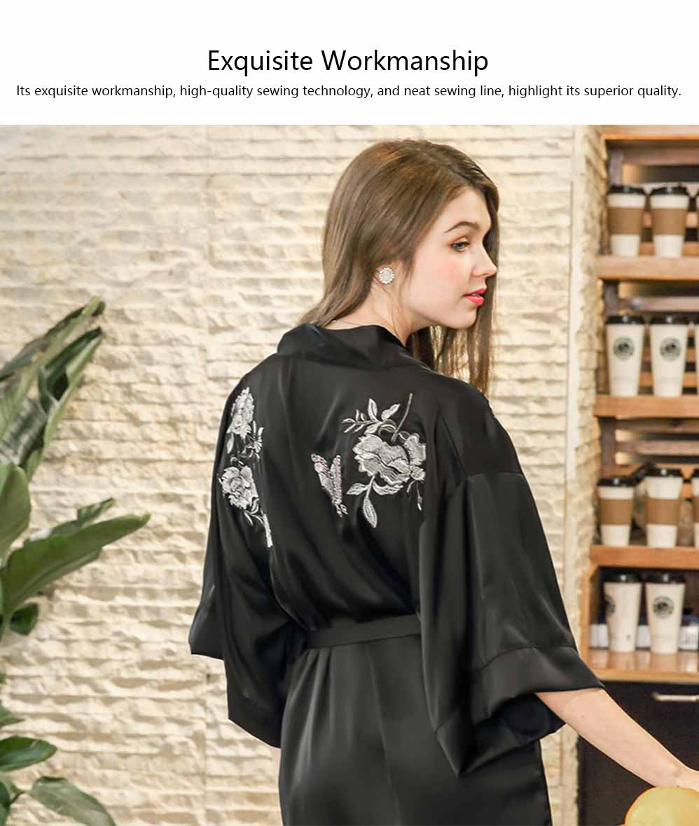 Peony Beautiful Embroidery Printing Sexy Nightgown, Female Summer Catwalk Imitation Silk Fabric Pajamas 4