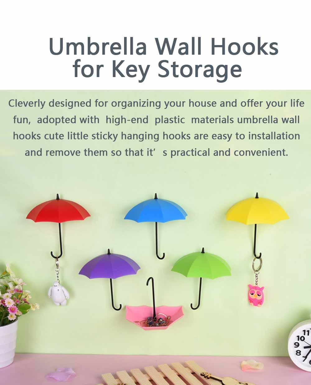 Umbrella Wall Hooks, Cute Little Sticky Hanging Hooks for Hat Purse Key Storage (3 packs) 1