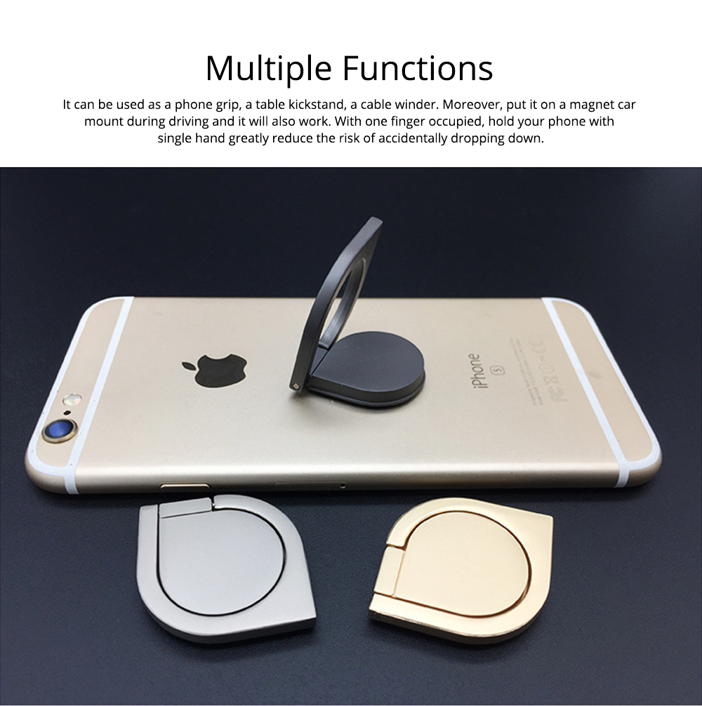 360 ° Rotating Water Droplets Ring Buckle Bracket, Car Metal Finger Buckle Phone Ring Holder 2