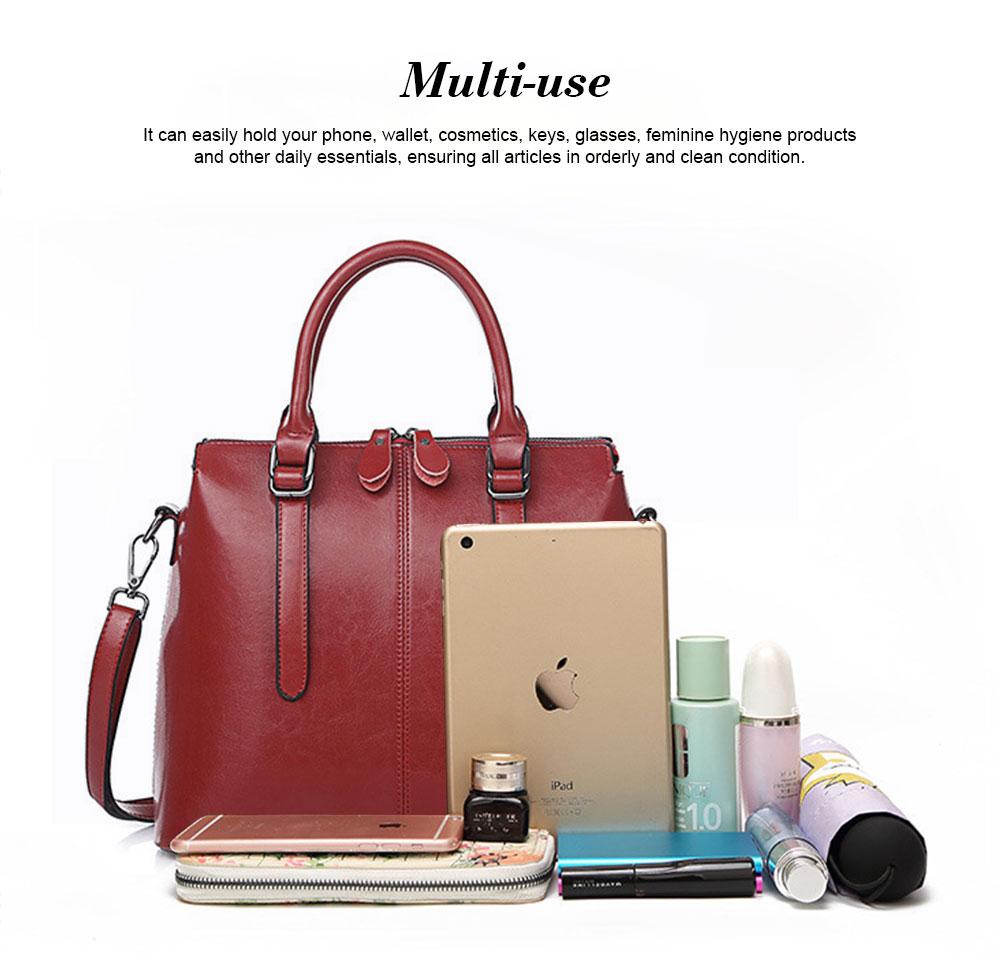 Oil Wax Leather Handbags With Adjustable Shoulder Strap, Fashion Ladies Portable Slung Shoulder Bag 4