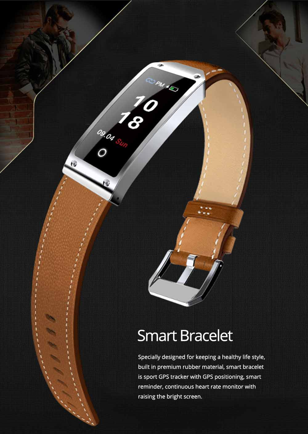 Smart Bracelet with GPS Positioning for Continuous Heart Rate Monitoring and Call Reminder 0