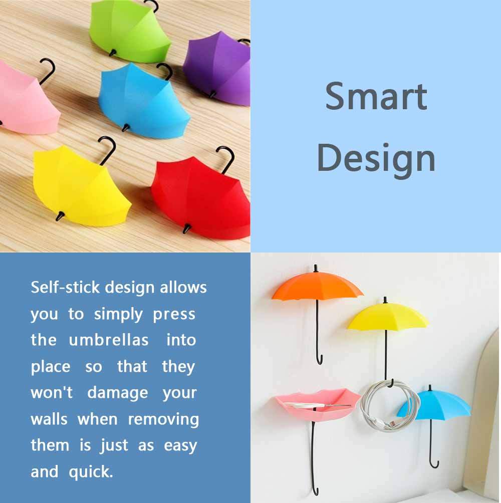 Umbrella Wall Hooks, Cute Little Sticky Hanging Hooks for Hat Purse Key Storage (3 packs) 6