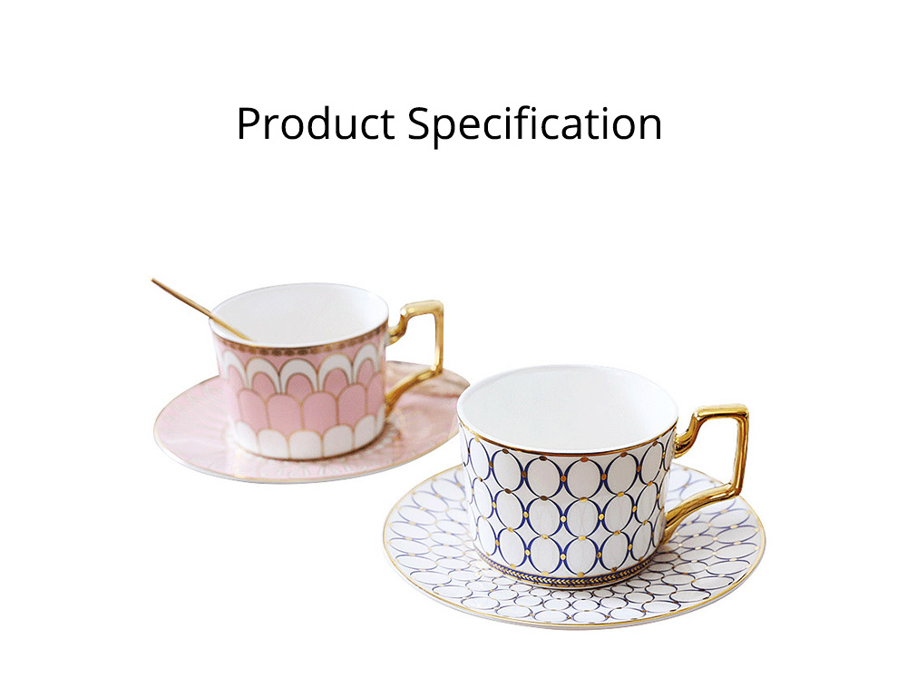 Ceramics Cups Sets - Tea Cup with Saucers Spoon, Exquisite Painting Porcelain Coffee Cups 19